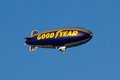 Goodyear blimp the flying over the tournament of roses parade Stock Image