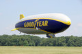 The goodyear zeppelin nt suffield ohio usa june flying at airship base in suffield ohio Stock Images