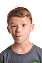 Goof face boy making a silly white background Royalty Free Stock Photo