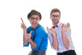Goofy business men with glasses hat braces suspenders and bow ties Royalty Free Stock Images