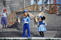 Goofy et souris de Minnie en monde de Disney Photographie stock