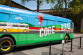 Google headquarters mountain view ca august s code the road bus parked at in mountain view california on august Stock Image