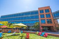Google headquarters relaxing area mountain view ca usa august dining and with colorful parasols and deck chairs for sunbathing for Royalty Free Stock Photo