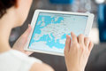 Google maps on apple ipad air kiev ukraine may woman looking application a brand new white is a most popular web Royalty Free Stock Photography