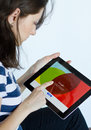 Google plus social network woman logs in on on digital tablet Stock Photography