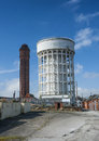 Goole s twin water towers situated in the docks area of in east yorkshire known locally as the salt and pepper pots Royalty Free Stock Photo