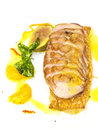Goose breast cooked on griles tangerine sauce on a white background in restaurant Stock Photos