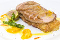 Goose breast cooked on griles tangerine sauce on a white background in restaurant Royalty Free Stock Photography