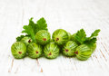 Gooseberries with leaves on a old wooden background Stock Images