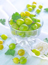 Gooseberry in the glass bowl Stock Photo