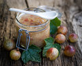 Gooseberry jam fresh on wooden ground Royalty Free Stock Images
