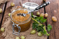 Gooseberry jam in a glass with fresh fruits Stock Image