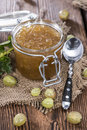 Gooseberry jam in a glass with fresh fruits Stock Photography