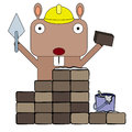 Gopher bricklayer a wearing a construction worker s hat and doing a s job Stock Photos