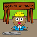 Gopher s manhole a funny illustration of a wearing a construction worker uniform inside a Royalty Free Stock Photos