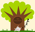 Gopher on vacation a sleeping under a tree with the words Royalty Free Stock Images