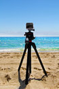 GoPro HERO3+ Black Edition Digital Action Camera Mounted on a Tripod on Fort Lauderdale Beach in Florida Royalty Free Stock Photo