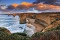 Gor apostles close australia victoria great ocean road national park natural landmark of out of rockstone at sunrise Royalty Free Stock Photos