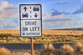 Gor drive on left sign australian outback road in australia as a reminder for overseas tourists about road safety great ocean road Stock Photos