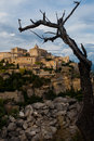 Gordes Provence Village Framed By Tree Royalty Free Stock Image