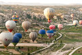 Goreme balloons many filling the sky abova in turkish region of cappadocia Stock Photos