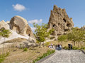 Goreme cappadocia turkey the geological formations in are unique in the world tourists visiting famous caves of Royalty Free Stock Images