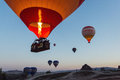 GOREME, TURKEY - APRIL 28: Hot air balloon fly over Cappadocia w