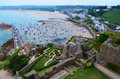 Gorey castle view the from jersey over looking the bay Stock Images