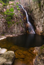Gorg negre black pool of gualba montseny spain view the waterfall at natural park Stock Photography