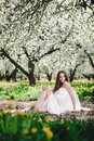 Gorgeous brunette fashion portrait of young in blooming apple garden Royalty Free Stock Image