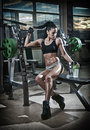 Gorgeous brunette lifting some weights and working on her biceps in a gym. Fitness woman doing workout. Sporty girl doing exercise Royalty Free Stock Photo