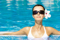 Gorgeous brunette in pool Royalty Free Stock Photography
