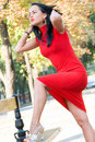 Gorgeous brunette in red dress Royalty Free Stock Photos