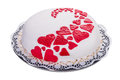 Gorgeous cake for his beloved with red hearts Stock Image
