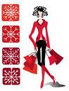 Gorgeous christmas shopper Stock Photos