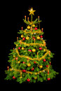 Gorgeous Christmas tree on black Stock Photography