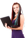 Gorgeous cute teen woman with laptop on white background Royalty Free Stock Photos