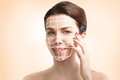 Gorgeous european model portrait with skin surgery mark isolated