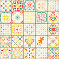 Gorgeous floral patchwork design moroccan or mediterranean square tiles tribal ornaments for wallpaper print pattern fills we web Stock Images
