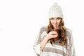 Gorgeous girl drinking hot chocolate xmas spirit concept Stock Photography