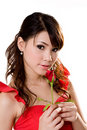 Gorgeous girl with a red rose Stock Image