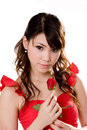 Gorgeous girl with a red rose Royalty Free Stock Image