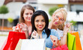 Gorgeous Girls Out Shopping Royalty Free Stock Photo