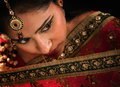 Gorgeous indian woman close up face of attractive young in traditional sari dress Royalty Free Stock Images