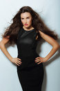Gorgeous lady in black evening dress with loosing long hairs Stock Image