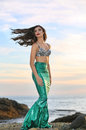Gorgeous mermaid by the sea Royalty Free Stock Images