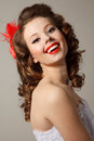 Gorgeous pin up bride close professional make hair and style Royalty Free Stock Images