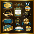 Gorgeous premium quality golden labels collection over black Stock Photography