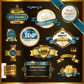 Gorgeous premium quality golden labels collection over black Royalty Free Stock Image