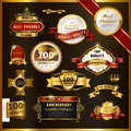 Gorgeous premium quality golden labels collection over black Royalty Free Stock Photography